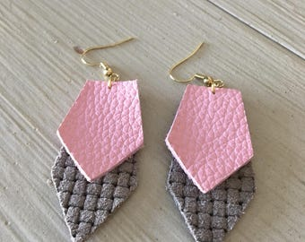 Leather geometric earrings/pink and gray textured print/lightweight statement earrings