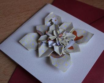 Handmade Origami Card - For anniversaries, birthdays, celebrations, engagements, greetings (5 layers) (medium size)