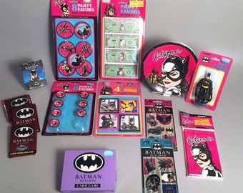 1991-92 Batman Returns Catwoman Party Set: Plates, Invitations, Favors, & More