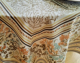 "Vintage tablecloth brown yellow cotton 1980's blue flowers Bassetti 134cm x 172cm 52"" x 67"""