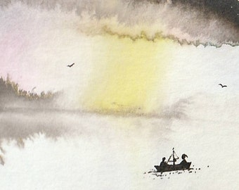 Single feather painting - watercolor Illustration ink on paper - Meditation Couple Lake fuchia