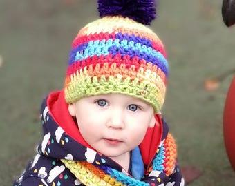 Crochet Rainbow Beanie