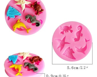 Small 3D Fondant Mold Cupcake Decoration Tool Marine Animals Fish /Crab/ Starfish& Dolphin Silicone Cake Kitchen DIY Tool