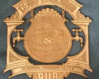 Laser Engraved Leaky Cauldron Wooden Sign