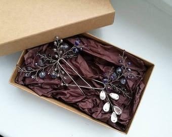 purple hair ornament/hairpins