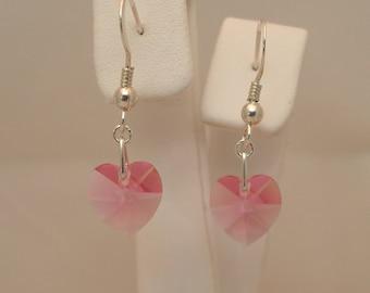10mm Rose Swarovski Crystal Earrings