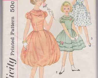 Vintage 1960s sewing pattern -- girls' full-skirted party dress size 10