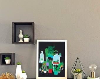 Plants on Black Background Print