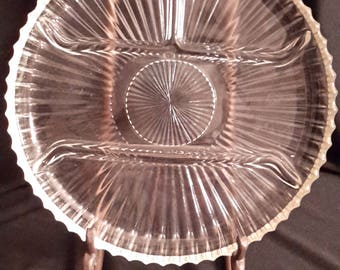 Indiana Glass ribbed platter