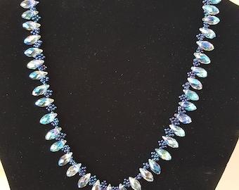 Iridescent blue glass necklace