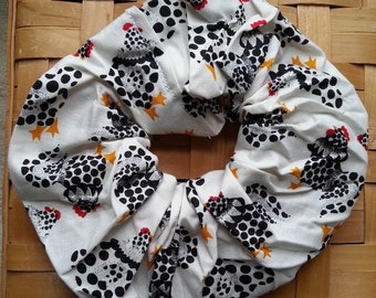 Hair Scrunchie-Black and White Polka Dot Chickens