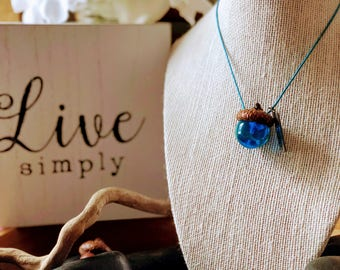 DREAM Turquoise Marble Acorn Cap Necklace for Women and Girls by MightyGirl Designs