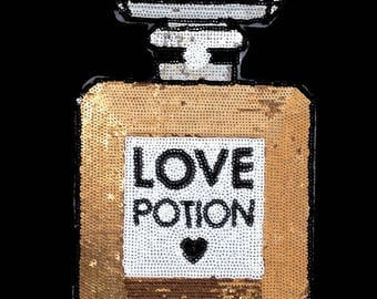 love potion No 5  iron on high quality  sequins / embroidered