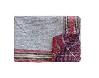 Vintage Reversible Kantha Quilt Handmade Kantha Blanket Cotton Kantha Bedspread Twin Size Kantha Throw Bohemian Sari Kantha Bed Cover