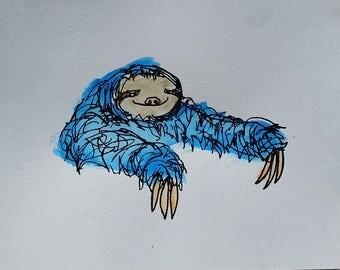 Sloth Print (Blue)
