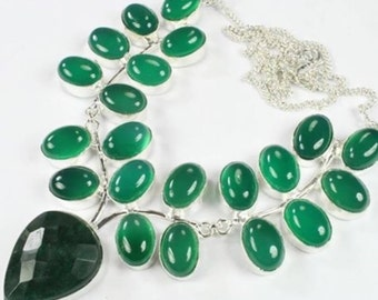 Green Onyx Necklace (pointed pendant)