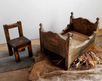 Retro wooden bed photo prop