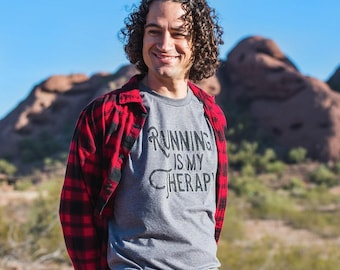 Running is my Therapy Triblend T-shirt - Men's - Grey