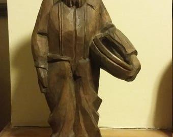 Vintage Wood Carved Gold Panner/prospector statue figurine