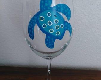 Whimsical Turtle Wine Glass