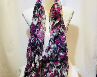 black floral printed scarf | summer collection |light weight |hand woven