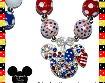 PATRIOTIC MINNIE DISNEY Inspired Bubblegum Necklace, Birthday Smash Necklace, Chunky Bead Necklace, Girls Necklace, Photo Prop Necklace