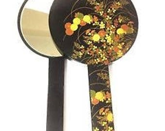 Vintage Japanese Black Lacquer Nesting Hand Mirrors