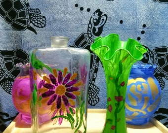 Personalized Hand Painted Vase - Flower