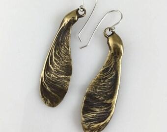 Maple Seed Earrings - Medium, Bronze Dangle Earrings, Maple Seeds