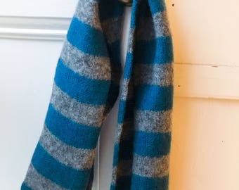 Soft Skinny Scarf - Felted Merino Lambswool - Teal Blue and Grey Knit