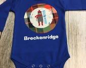 Baby Boy Gift Onesie - Skiing Bear in Royal Long Sleeve...