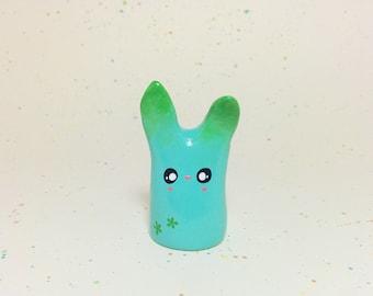 Springtime Aqua Bunny - Clay Figurine