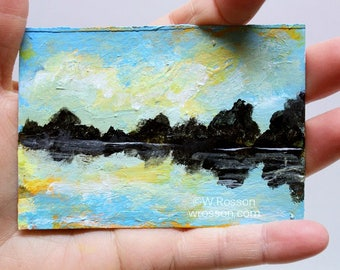 Lake Painting, Calm Water, Still Water, Tree, Landscape Painting, ACEO, Small Painting, Winjimir, Art Collecting, Original Painting, ATC