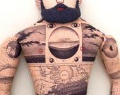 Tattooed Man with Beard Doll Celestial Map tattoos plush