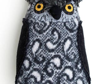 Black and Grey Paisley Owl Softie Toy plush pillow reclaimed wool