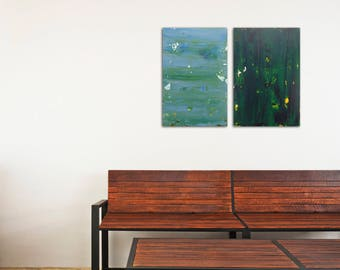 """Set of 2 Abstract Paintings """"Foggy Waters+Green Velvet"""" Original Diptych - Minimalist Art in Acrylic on Wood Panel - Blue and Green"""