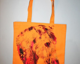 hand silkscreened tote, unique gift, multicolor print, crying horse tote, yellow bag, art on tote, one of a kind, 1aeon tote