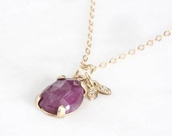 14k sapphire necklace, pink sapphire, rose cut sapphire pendant, eco friendly, leaf diamond charm