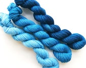 TWILIGHT fade set of hand dyed yarn mini skeins. Gradient ombre SET of 3 skeins. Sock fingering yarn merino wool. Deep to light blue yarn