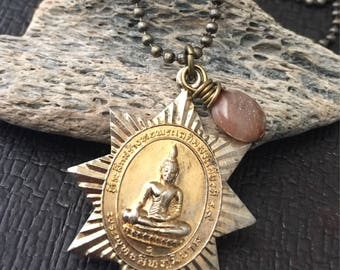 8 Paths of BUDDHA Necklace with MOONSTONE gemstone and Solid Brass Buddhist AMULET, Antique Brass Chain, Eight Point Star,