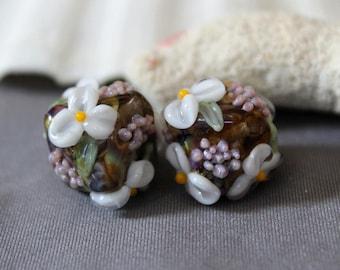 Elizabeth Creations MYSTERY GARDEN artisan lampwork matching handmade glass beads Sra