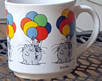 Vintage Sandra Boynton Cats Colorful Balloons Birthday Coffee Mug
