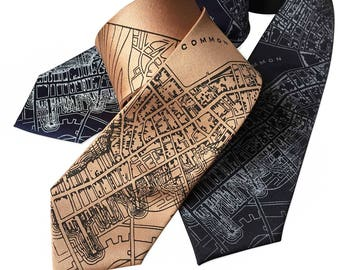 Boston Map Printed Necktie. 1814 vintage map print men's silkscreen tie. Black, pale copper, navy blue & more. Narrow or standard size.