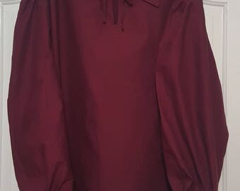 XXL Embroidered Burgundy Pirate Poet Shirt 2XL