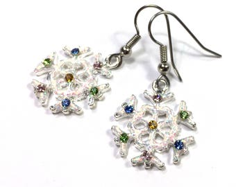 White Rhinestone Snowflake Earrings. Glitter & rhinestone dangle, hook, snowflake earrings. Clip-on's available Christmas Gifts Gift for Her