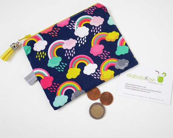 Coin purse - mini zippered pouch - rainbow - rain - blue - pink - yellow - colorful - handbag - bag - purse - gift for girls - Valentine
