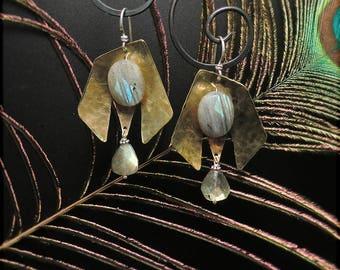 E1559 Brass and Labradorite earrings