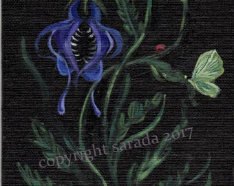 Phantom Flowers dark gothic botanical horror art original art acrylic painting 5 x 7 witchcraft occult purple floral insect, moth, bug