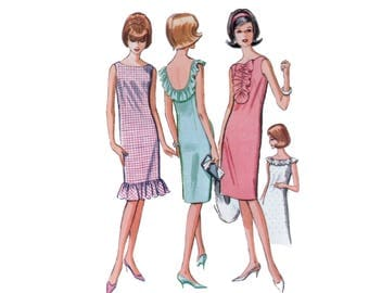 60s uncut Sheath Dress Pattern Ruffle Sundress pattern vintage 33-25.5-35 Low Back Dress pattern Bust 33 XS McCalls 7252
