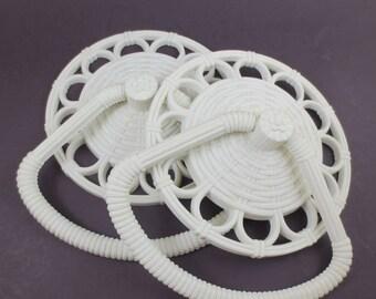 Vintage Homco Towel Rings Bathroom Towel Holder Faux Wicker Plastic 70s Off White Pair 2 Towel Rack Holder